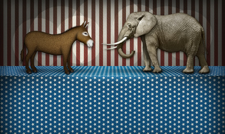 donkey  ass: Donkey and elephant face off on a patriotic stage, representing the democrat and republican parties. White blocked space below for text to be added.