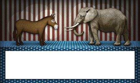 election debate: Donkey and elephant face off on a patriotic stage, representing the democrat and republican parties. White blocked space below for text to be added.
