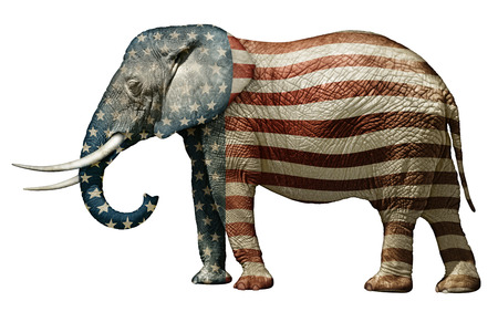 republican elephant: Photo illustration of an elephant — side view.