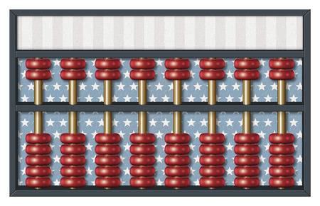 Digital illustration of an abacus to count Republican votes. Area for text or title is included.