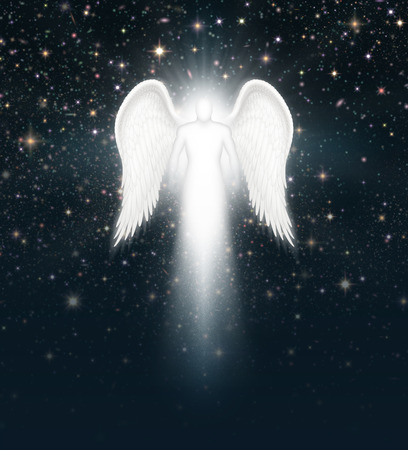 Digital illustration of an angel in the night sky full of stars. Banco de Imagens