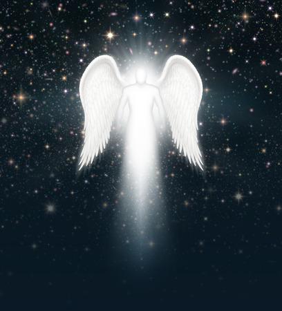 Digital illustration of an angel in the night sky full of stars. Stock Photo