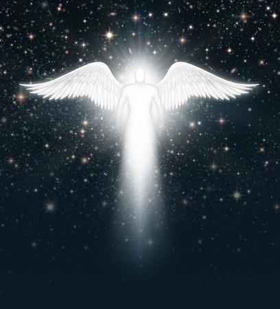 Digital illustration of an angel in the night sky full of stars. Zdjęcie Seryjne