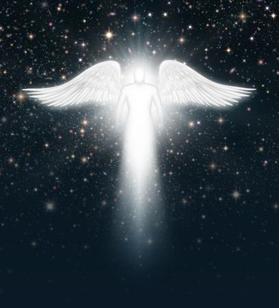 星でいっぱい夜の空で天使のデジタル イラストレーション。