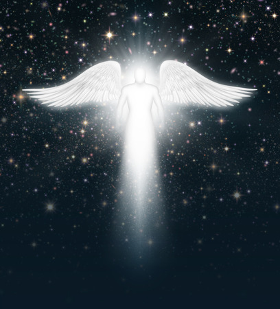Digital illustration of an angel in the night sky full of stars. Archivio Fotografico