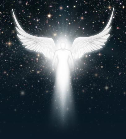 heaven: Ilustraci�n digital de un �ngel en el cielo nocturno lleno de estrellas.