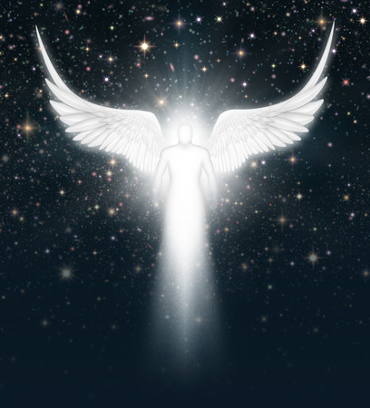 Digital illustration of an angel in the night sky full of stars. Stock Photo