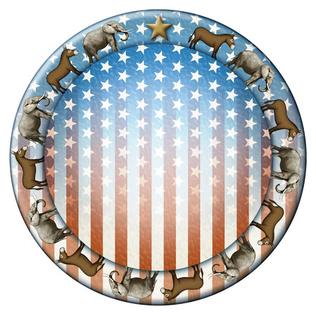 republican: Election stars and stripes button with elephants and donkeys representing the Democratic and Republican parties.
