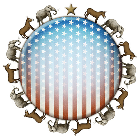 primaries: Election stars and stripes button with elephants and donkeys representing the Democratic and Republican parties.
