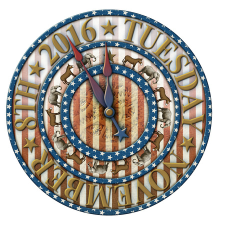 primaries: 2016 Election countdown clock with the election date and elephants and donkeys representing the Democratic and Republican parties. Clock hands are isolated separately to be placed and rotated around the clock.
