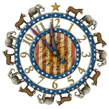 Election countdown clock with elephants and donkeys representing the Democratic and Republican parties. Clock hands are isolated separately to be placed and rotated around the clock.