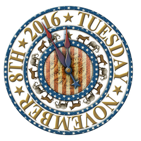 primaries: 2016 Election countdown clock with the election date and elephants and donkeys representing the Democratic and Republican parties.
