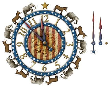 primaries: Election countdown clock with elephants and donkeys representing the Democratic and Republican parties. Clock hands are isolated separately to be placed and rotated around the clock. Clipping Path included. Stock Photo