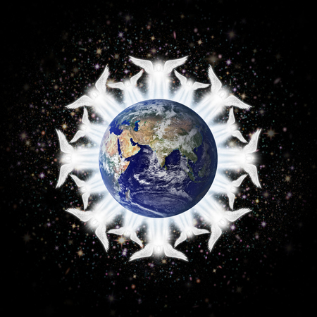 earth: Digital illustration of angels surrounding the earth: Eastern Hemisphere.  Earth image: Coutesy: NASA Stock Photo