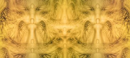 タイル、シームレスに背景パターンのパネルが天使でいっぱい。 写真素材