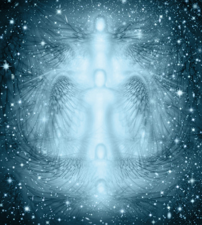 religious angel: Background design of angels and angel wings combined with a starry night.