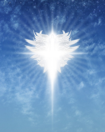 Interpretive digital illustration of an archangel in the sky.