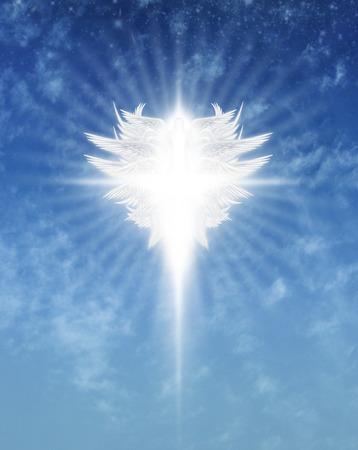 Interpretive digital illustration of an archangel in the sky.
