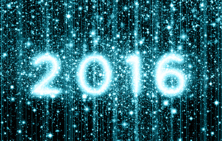 filled out: Against a star filled night sky, the year 2016 is created out of clusters of stars. Stock Photo