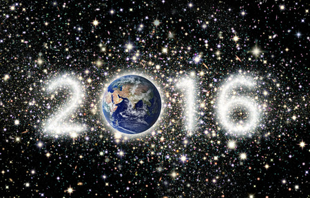 The year 2016 with Earth as the zero and the other three numbers illustrated as star clusters. Eastern Hemisphere Earth image: Coutesy: NASA Banco de Imagens - 50817783