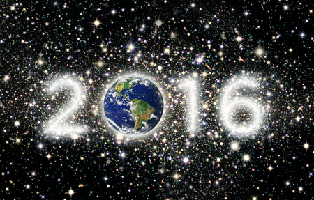 The year 2016 with Earth as the zero and the other three numbers illustrated as star clusters. Western Hemisphere  Banco de Imagens