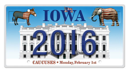 license plate: Digital illustration of a license Plate displaying the presidential election year 2016, the White House, a Republican elephant, a Democrat donkey, and the state title of Iowa, representing the Iowa caucuses. Includes a clipping path.