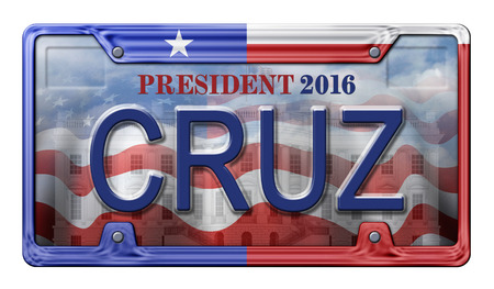 primaries: License Plate promoting Ted Cruz as a candidate for the presidential election in 2016. Includes a clipping path.