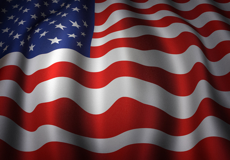 american states: Illustration of the waving flag of the United States. Stock Photo