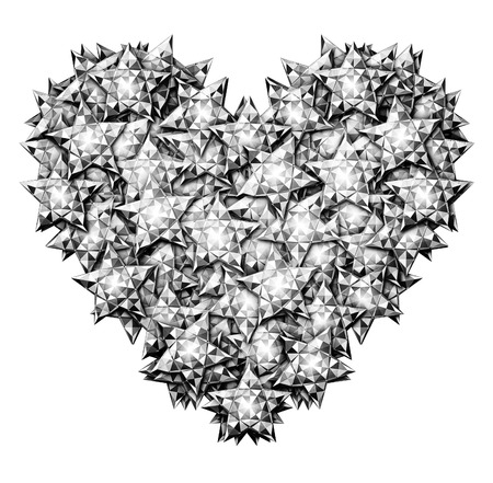 star path: Digital Illustration of star shaped diamonds formed into the shape of a heart. Includes a clipping path.