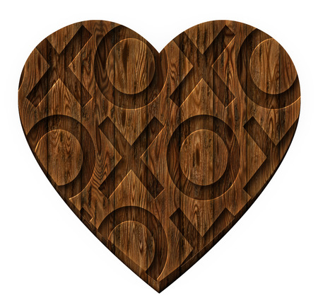 dating icons: Digital illustration of wooden panels in a heart shape with hugs and kisses carved into it.