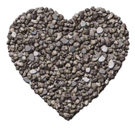 dating icons: Digital illustration of rocks arranged in a heart shape. Stock Photo