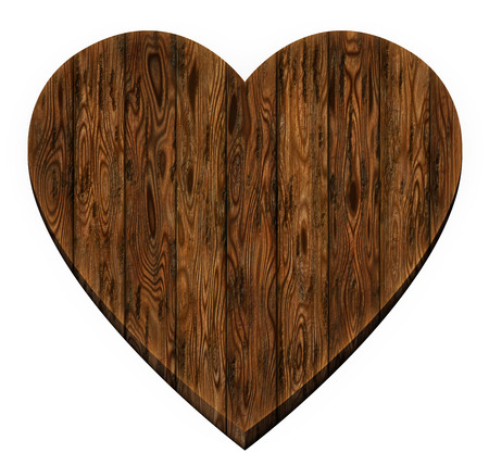 dating icons: Digital illustration of wooden panels in a heart shape.