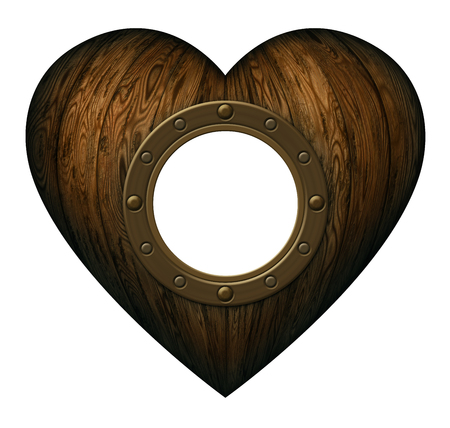 window display: Heart shaped wooden panels with a ships portal. Includes a clipping path to display your image in the window.