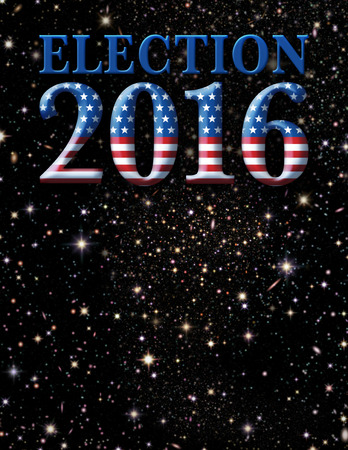 Election 2016 title art filled with satrs and stripes against a star filled sky.
