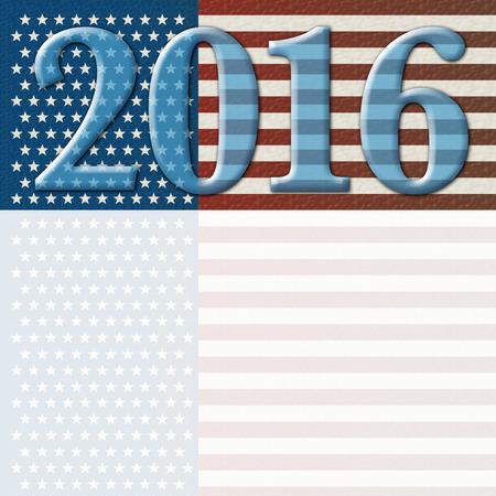 Digital Illustration of the year 2016 against the red, white, and blue stars and stripes of the United States flag. Includes an area to add text or other images.