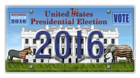 house donkey: Digital illustration of a license Plate displaying the presidential election year 2016, the White House, a Republican elephant, a Democrat donkey. Includes a clipping path. Stock Photo