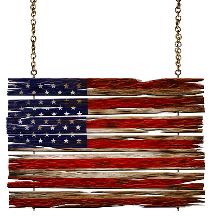 Digital illustration of a United States flag painted on an old weathered wooden sign.