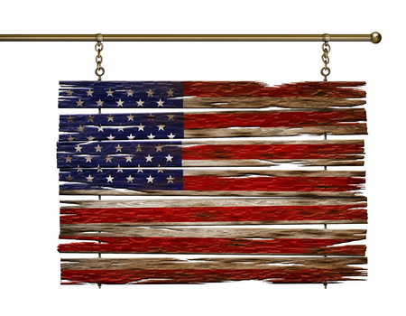 Digital illustration of a United States flag painted on wooden planks.