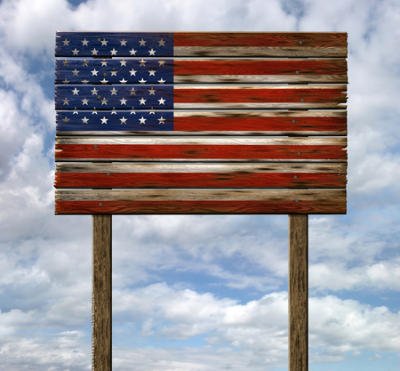 Digital illustration of a United States flag painted on an old weathered wooden sign. Includes a clipping path.