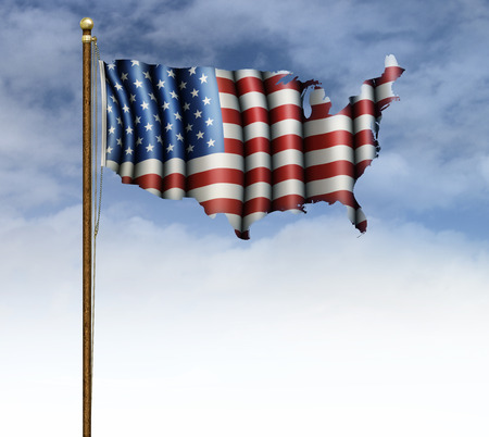 United States flag unfurled on a pole, shaped like the map of the United States, with an area to add text.