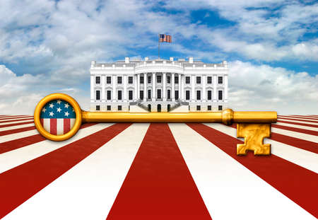 Digital illustration of the White House and a skeleton key against a United States flag inspired landscape.