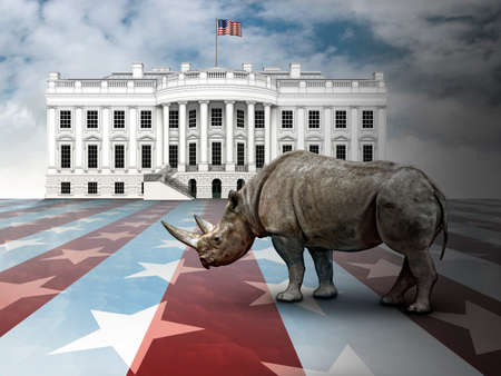 Photo illustration: Republican In Name Only, represented by a Rhinoceros standing in a stars and stripes landscape with the White House in the background.