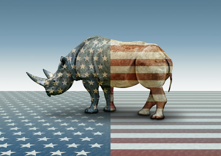Republican In Name Only, represented by a Rhinoceros overlayed with red, blue, and white stars. Stock Photo