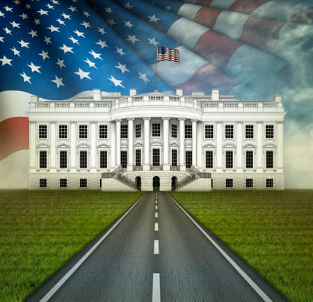 Digital illustration of the White House, a road leading to it, and a stars and stripes pattern in the sky.