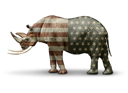 Republican In Name Only, represented by a half rhinoceros, half Elephant; overlayed with the United States flag's stars and stripes. Stock Photo