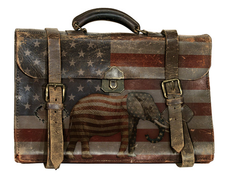 Antique briefcase printed with the United States flag and an elephant representing the republican party.
