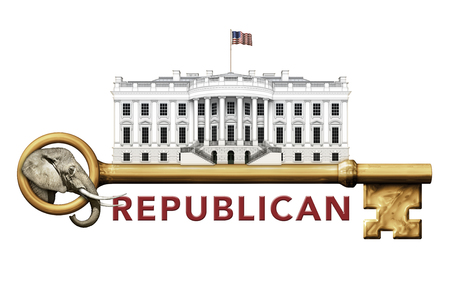 Digital illustration of the White House, a skeleton key, and an elephant representing the Republican party. Stock Photo