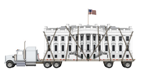 Digital illustration of the White House on a flat bed truck.