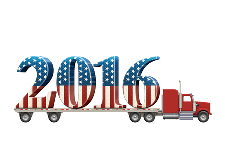 Illustration of a flatbed truck carrying the numbers 2016. Stock Photo