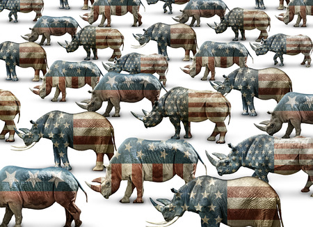 Republicans In Name Only, represented by a flag colored Rhinoceros herd. Stock Photo